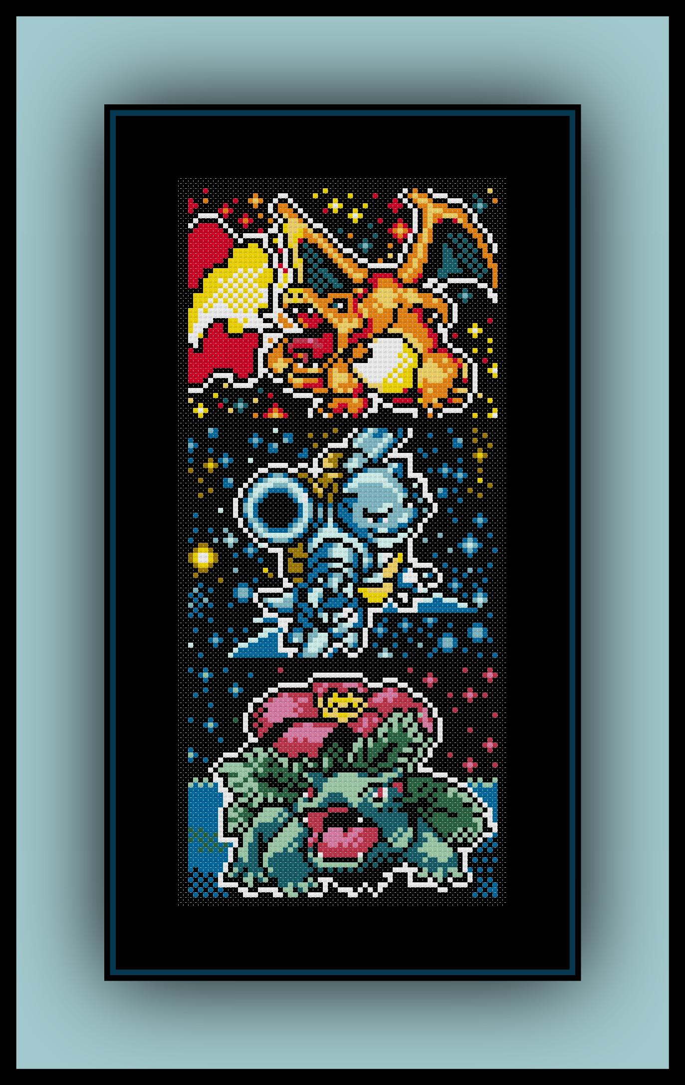 Free Kanto Starters Cross Stitch Pattern Charizard, Blastoise, and ...