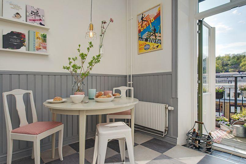 Jadalnia Z Szara Boazeria Kuchnia Styl Klasyczny Aranzacja I Wystroj Wnetrz Home Home Decor Decor