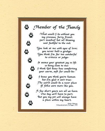 Member Of The Family Dog Or Cat Poem Wall Decor Pet Dog Saying Best Loss Of A Family Member Poem