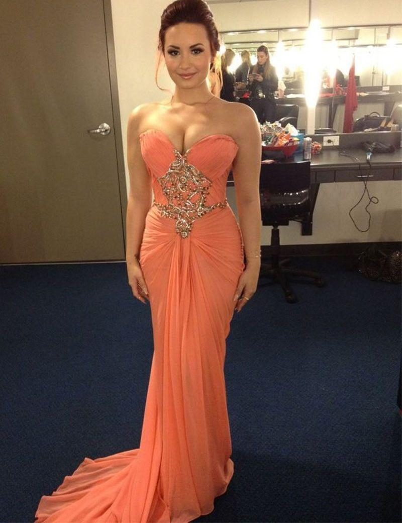 Red carpet celebrity dresses vintage evening dress mermaid
