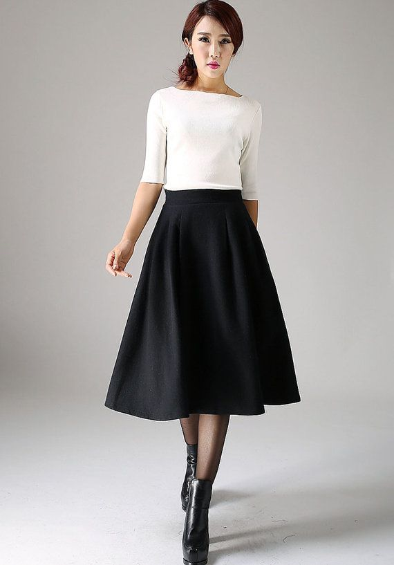 Black skirt, wool skirt, pleated skirt, winter skirt, retro skirt ...