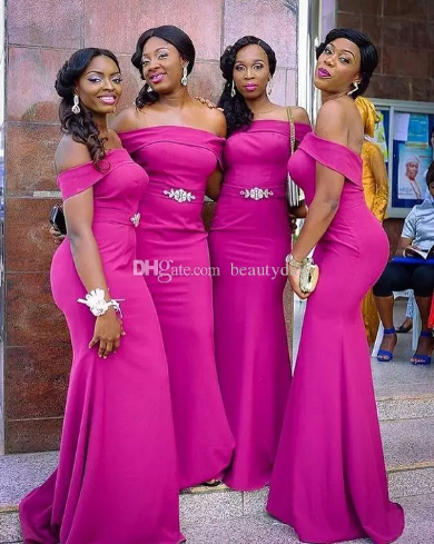 5eb380c138055 For Nigerian Bridesmaid Dresses 2019 Country Off Shoulder Beach Wedding  Party Guest Dresses Arabic Junior Maid of Honor Dress Cheap