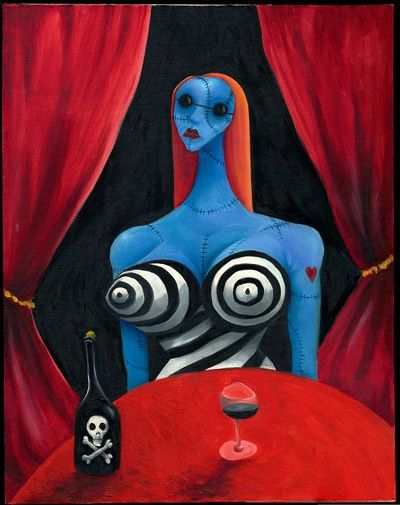 Tim Burton Blue Girl with Wine