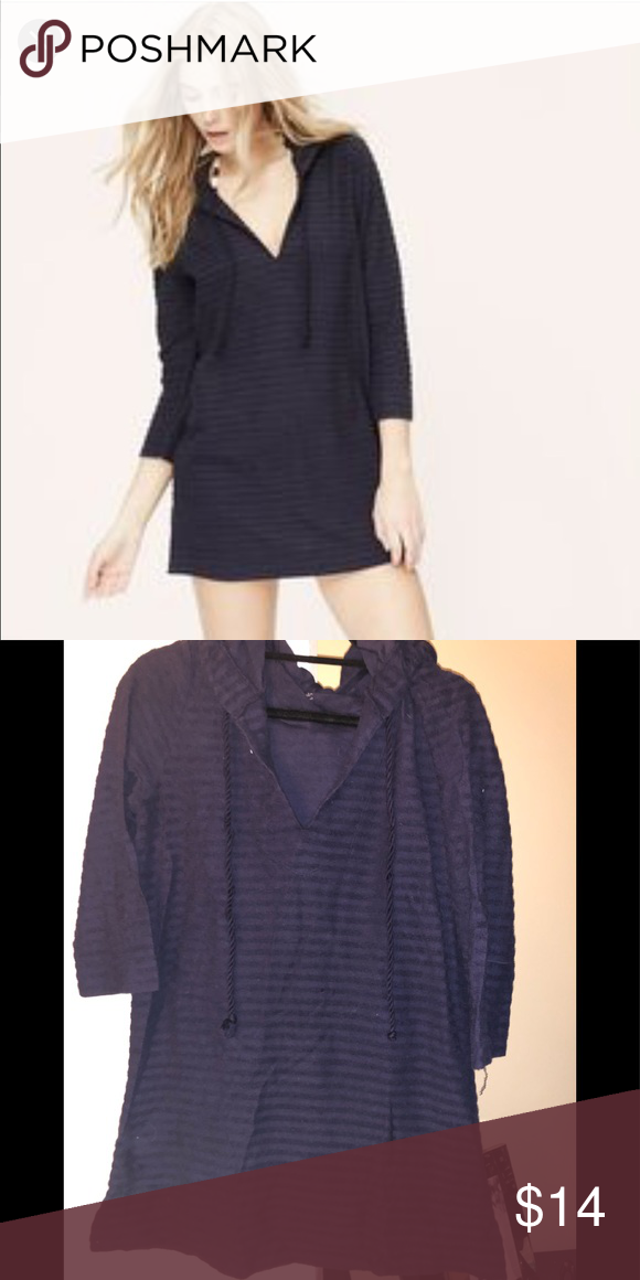e883cf4b0a LOFT Swimsuit Coverup Navy blue 3/4 sleeve hooded, textured striped swimsuit  cover up
