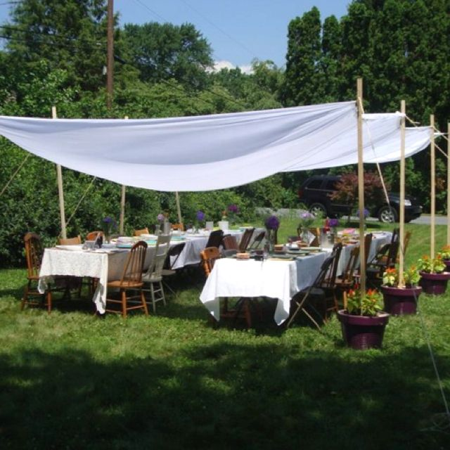 Shabby chic canopy for wedding shower crafts pinterest for Outdoor party tent decorating ideas