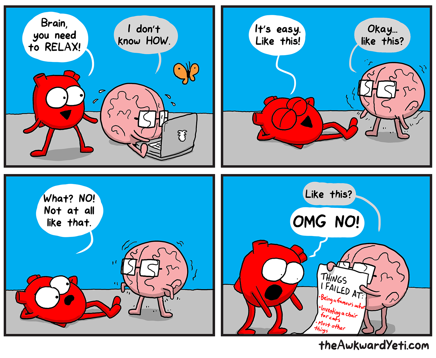 Brain tries to relax | Awkward yeti, Heart and brain comic, Funny comics