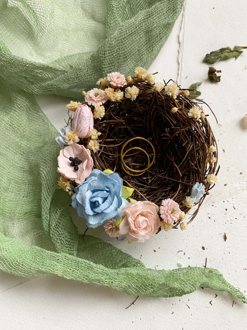 Flower ring bearer nest woodland wedding blush flower ring bearer nest flower ring box rustic ring bearer box blue flower ring pillow