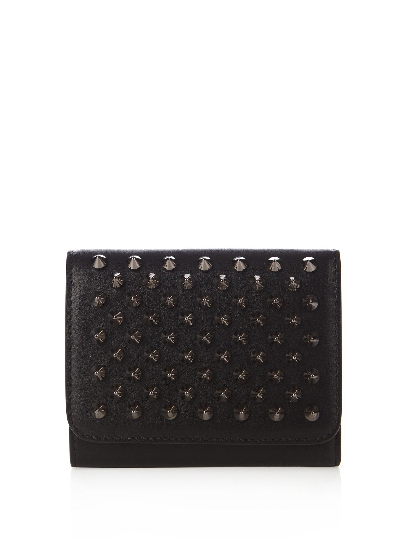 5436425a7357 Macron mini spike-embellished leather wallet | Christian Louboutin ...