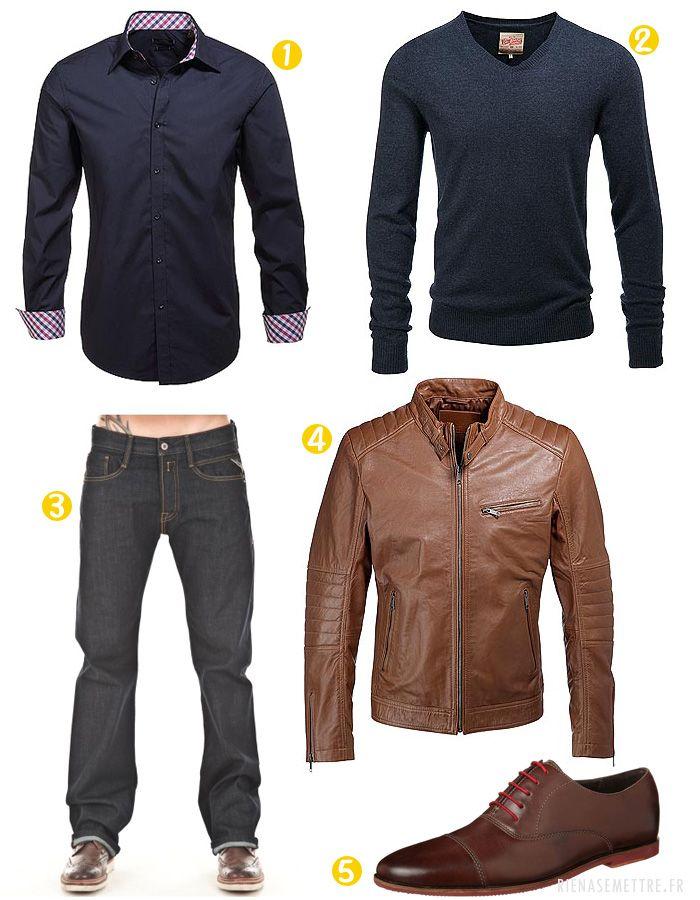look homme veste en cuir jeans man outfit dandy and. Black Bedroom Furniture Sets. Home Design Ideas