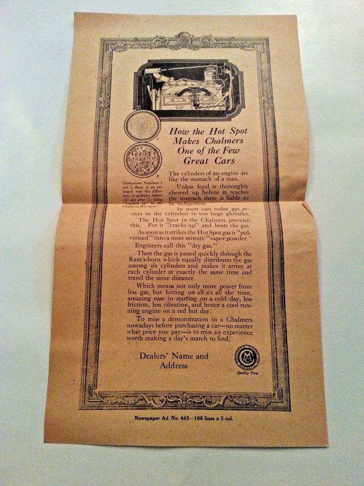 Vintage chalmers motor car co dealer newspaper ad sample EBAY