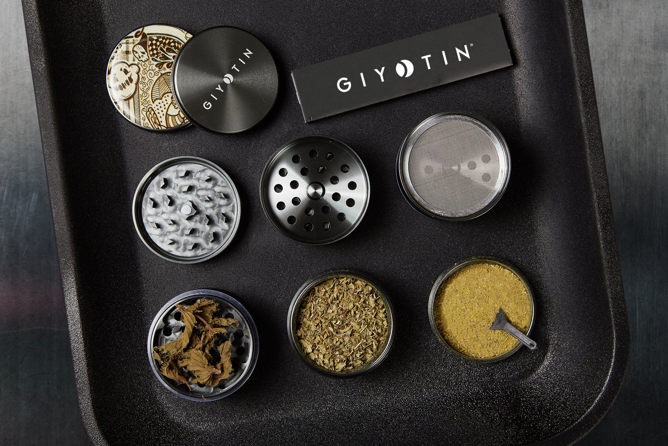 Giyotin 4 Piece Spice Herb Grinder With Pollen And Keef Catchers Includes Pollen Scraper And Travel Bag 2 2 Anodised Alumi Herb Grinder Kitchen Dining Dining