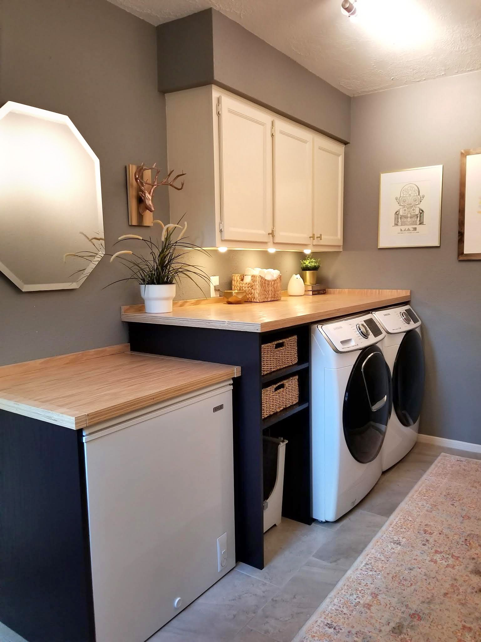 We Made Wood Countertops Laundry Room Diy Laundry Room Remodel