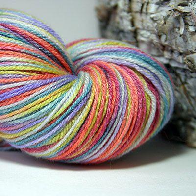 Roses at Sunset – www.thekiwipopstudio.com Individually hand painted sock yarn. 60% super wash merino, 30% nylon and 10% bamboo