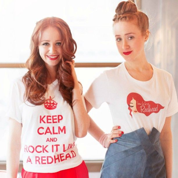 Adrienne & Stephanie rockin' the Keep Calm & Rock it like a Redhead T-Shirt & The Official How to be a Redhead T-Shirt! Adrienne paired hers with a pair of red pants and Stephanie chose @Dana Curtis-MAXX's high waisted shorts! Get your t-shirts at--> howtobearedhead.com/shop