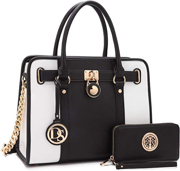 Amazon.com  Women Designer Handbags and Purses Two Tone Fashion Satchel  Bags Top Handle d856db03a4d88