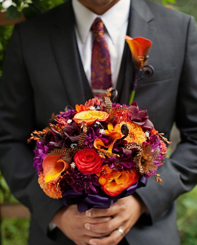 Jewel Tone Wedding Flowers: Groom With A Jewel Tone Bouquet In 2020