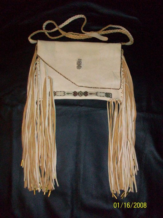 OOAK Handmade Fringed Cream Color Leather Purse With Bead Work - Native American. $88.98, via Etsy.