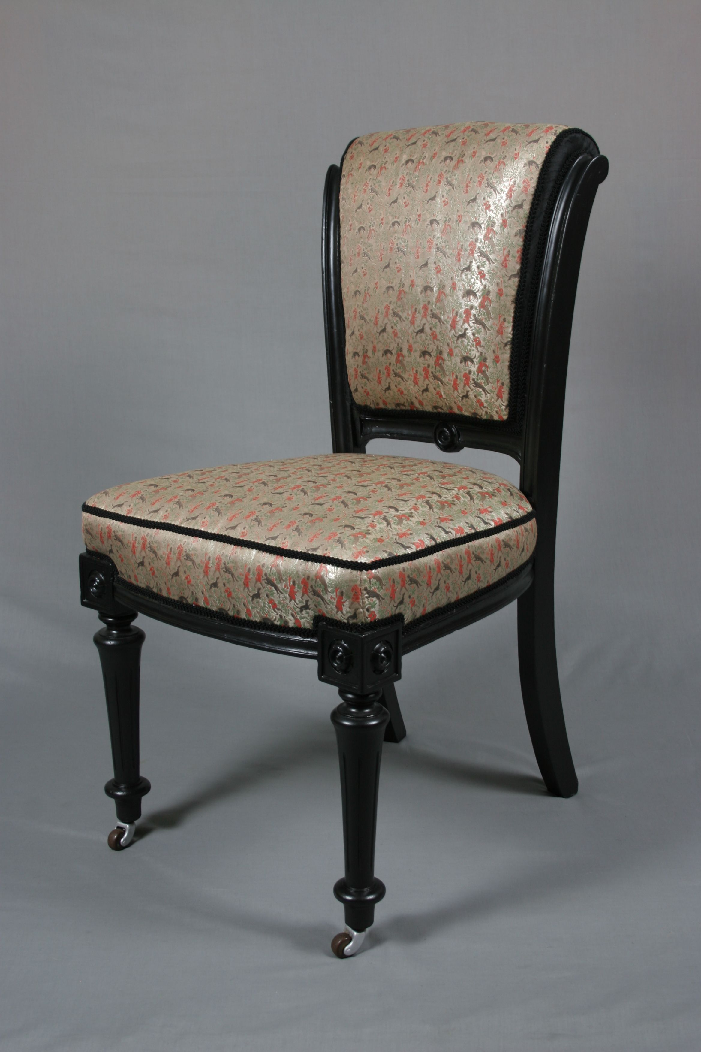 Elegant Victorian Walnut Occasional Chair Restored And Traditionally Re Upholstered  With Remnants Of Genuine Early 20th