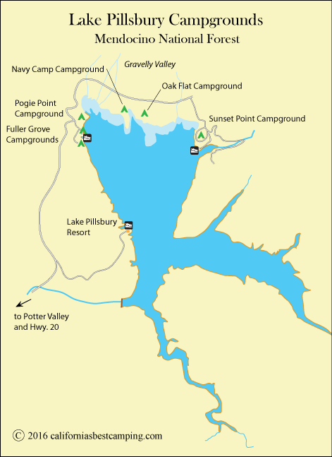 Best California campgrounds...map of Lake Pillsbury, including ... on