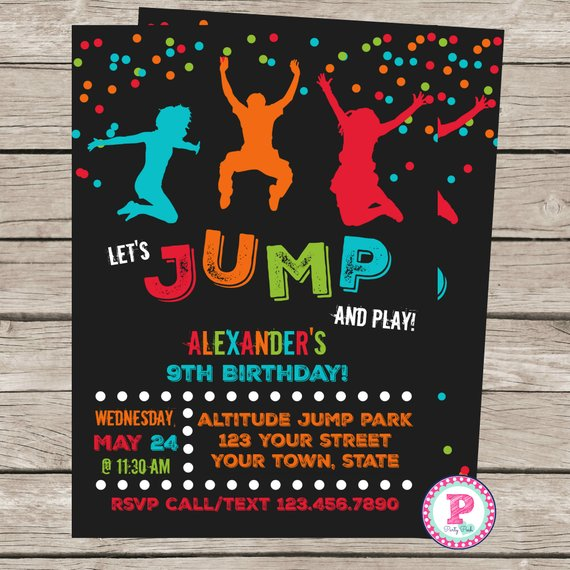 Trampoline Birthday Party Invitation Front Back Jump House Park Bounce Red Orang