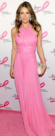 Elizabeth Hurley looks gorgeous in a pink Versace Collection gown at the Breast Cancer Foundation's Hot Pink Party in NYC
