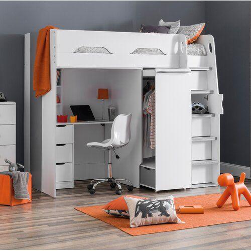 17 Stories Joachim Single High Sleeper Bed With Drawers And Shelves Wayfair Co Uk High Sleeper Bed High Sleeper Kid Beds