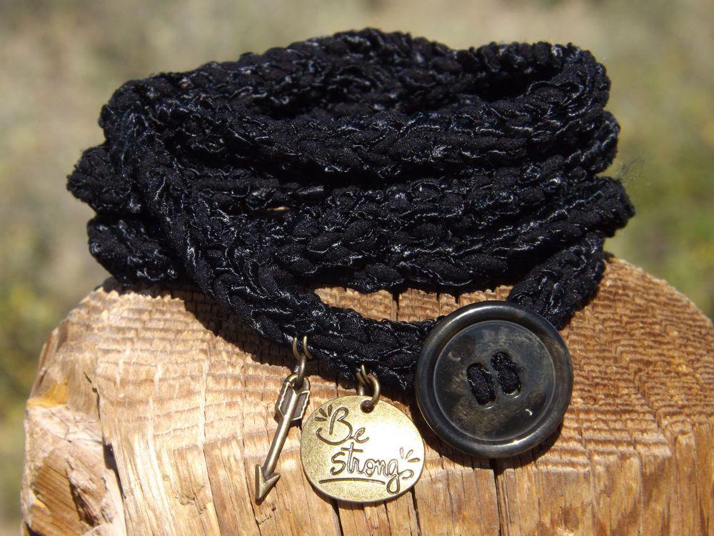 Crochet Wrap Bracelet, Black w/Charms and Button Closure, Women's Ladies Girls #Wrap