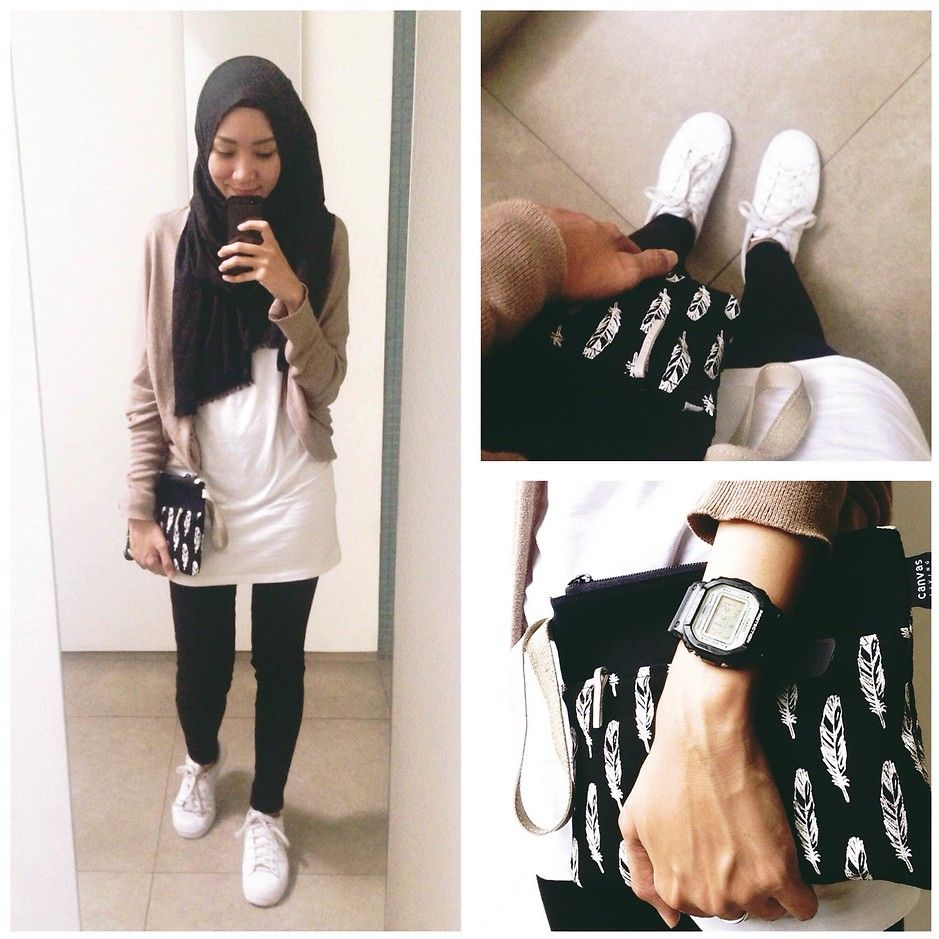ootd. casual hijab outfit cardigan, shirt, jeans, adidas superstar, white  sneakers