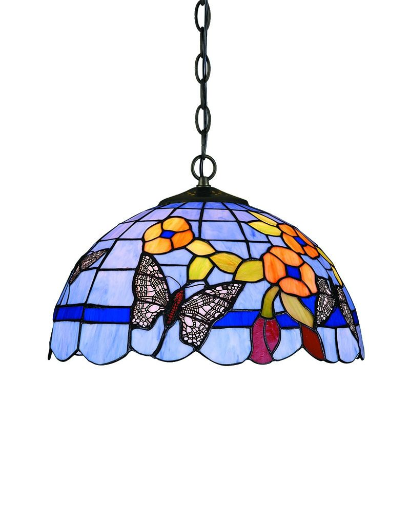 tiffany style pendant light fixture. Tiffany Style Butterfly And Flower Pendant Light With Dome Shape Shade Fixture N