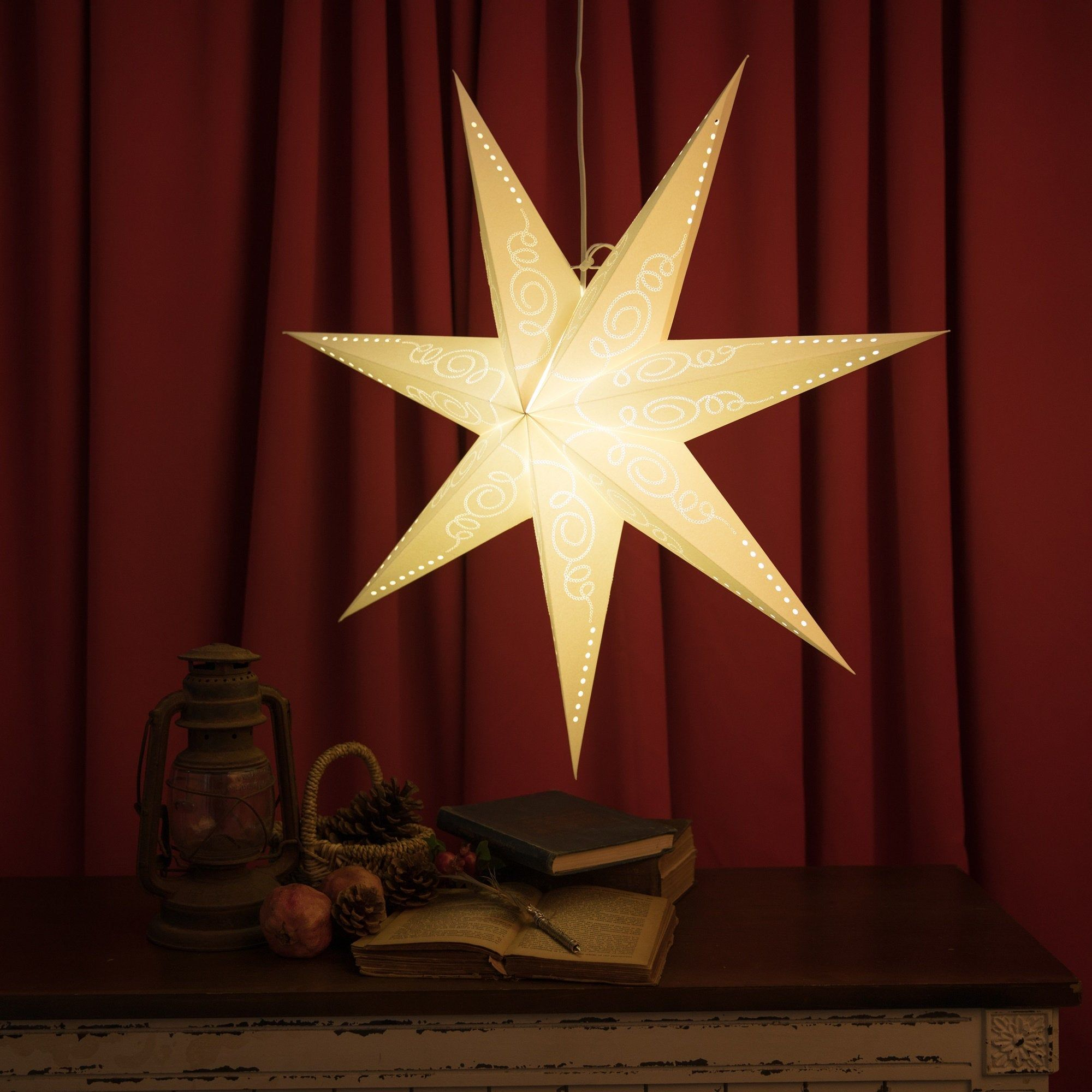29inches Hanging Star Lampshade With Artworks Embroidery White