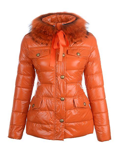 Moncler Cachalot Fur Collar Jacket Women Orange [2900438] - £182.39 : 5%