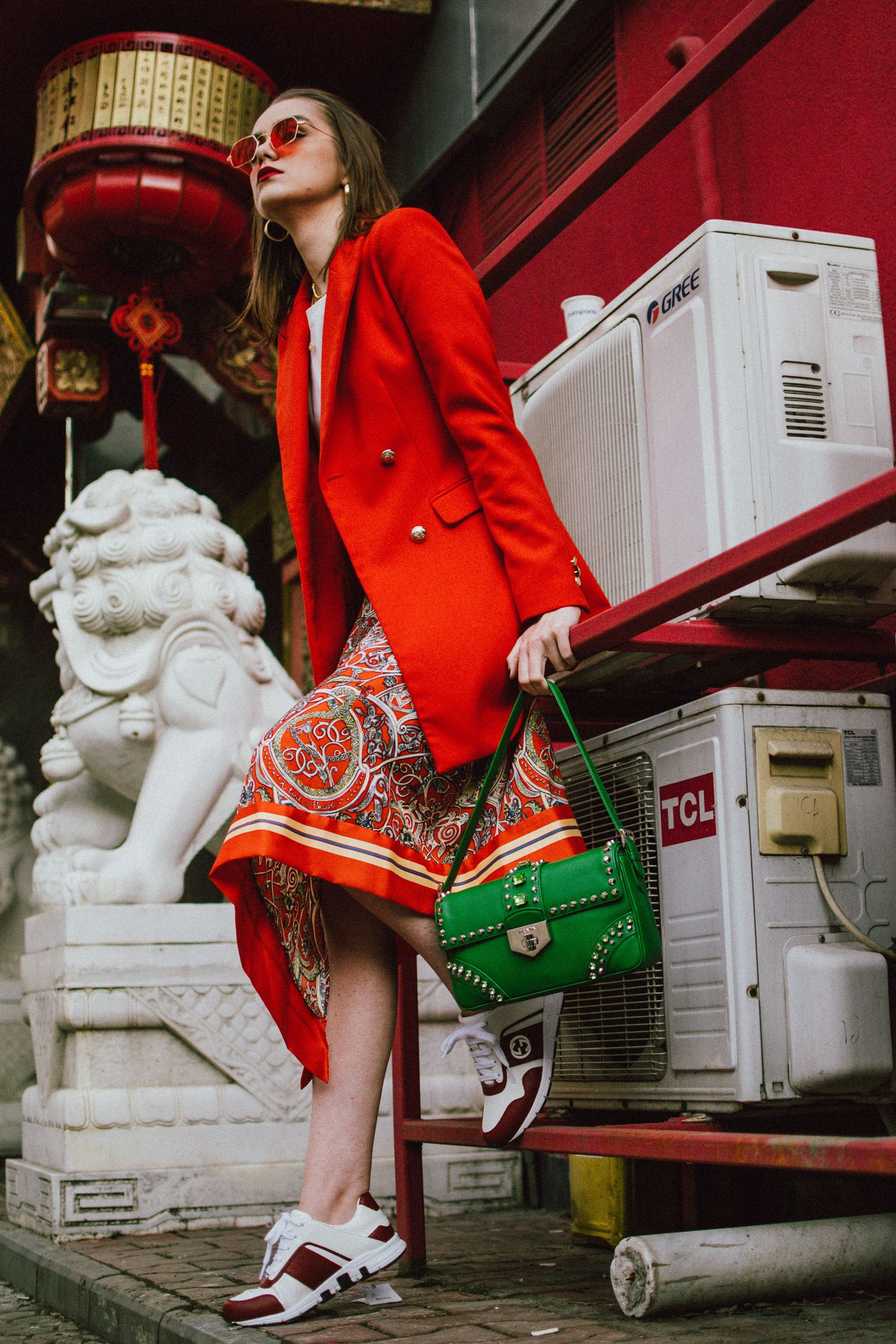 ee29fc421049 Zara double breasted long orange blazer, h&m patterned orange asymmetric midi  skirt, gucci white