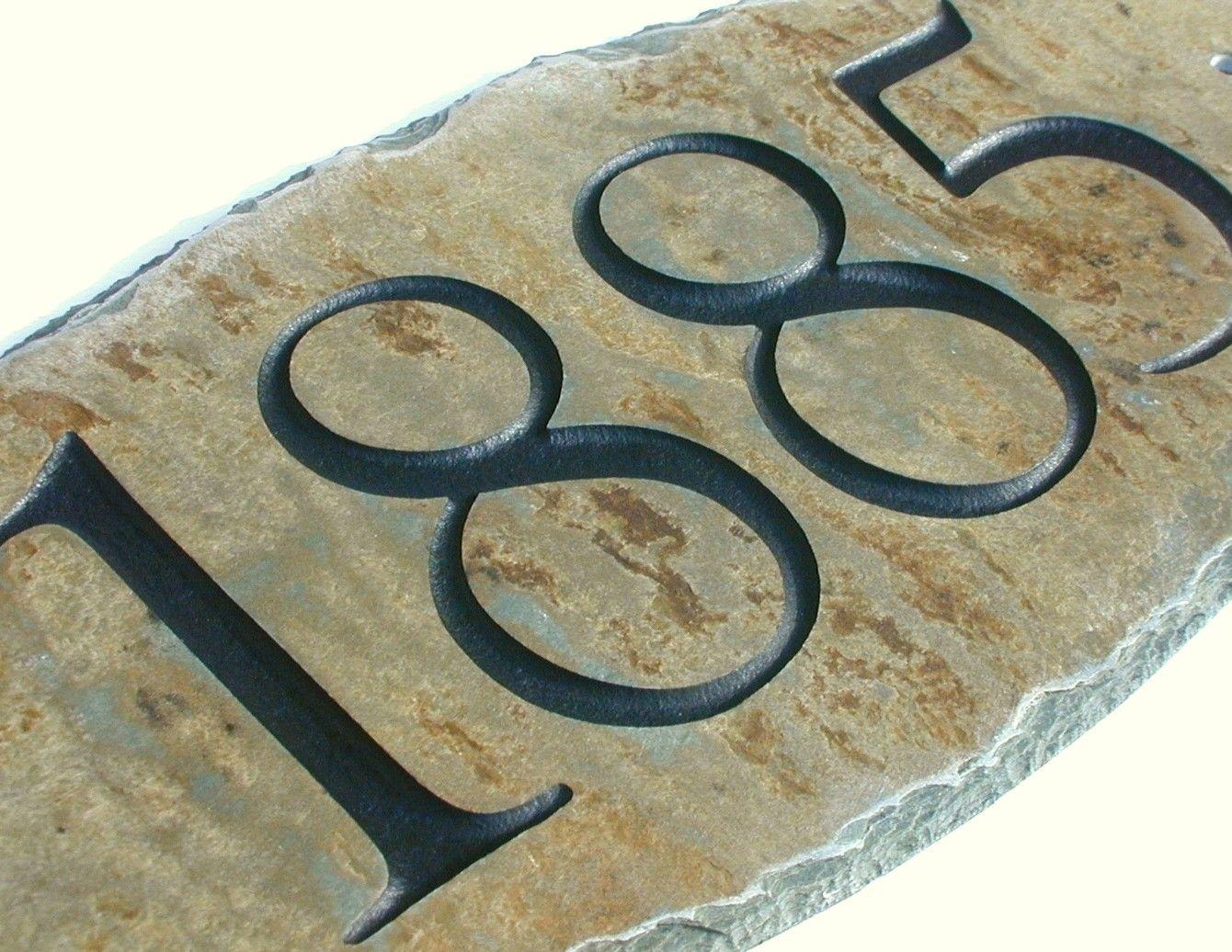 Address Sign Carved Stone House Number Marker Plaque Slate
