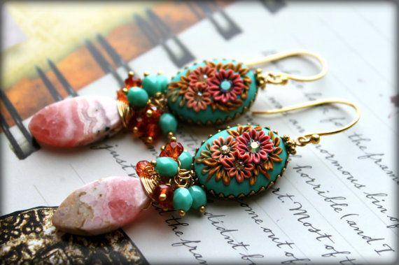 Rhodochrosite Mexical Opal Quartz Mint Czech beads door Peelirohini