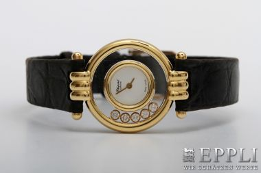 "CHOPARD exclusive ladies watch ""HAPPY DIAMONDS"". GG 18K. Case Diameter approx 22mm. starting price € 2400,-"