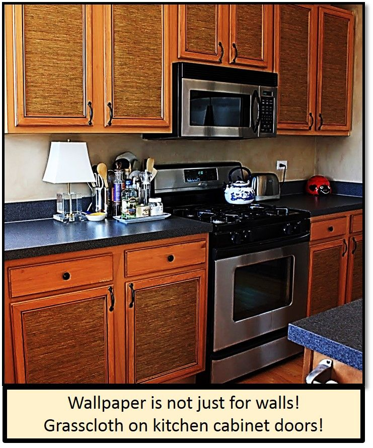 Grass cloth wallpaper on kitchen cabinet doors, hmmm could ...