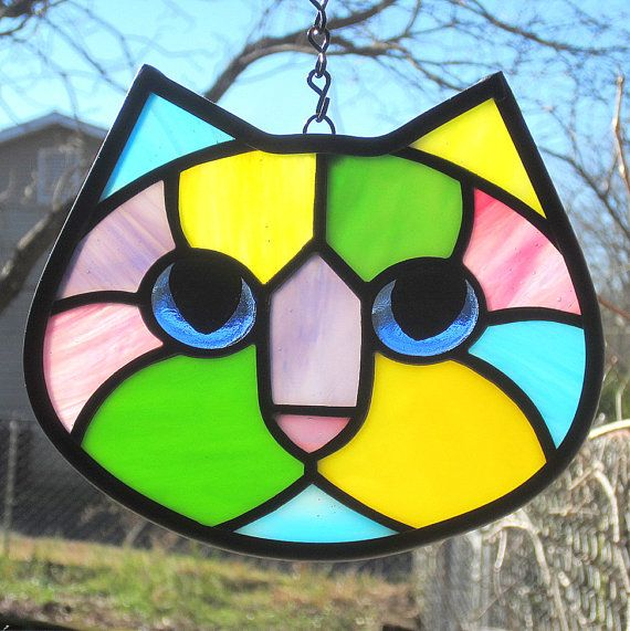Stained Glass Cats Kitties Window Panel ~ Colorful Hanging Sun Catcher w//Chain