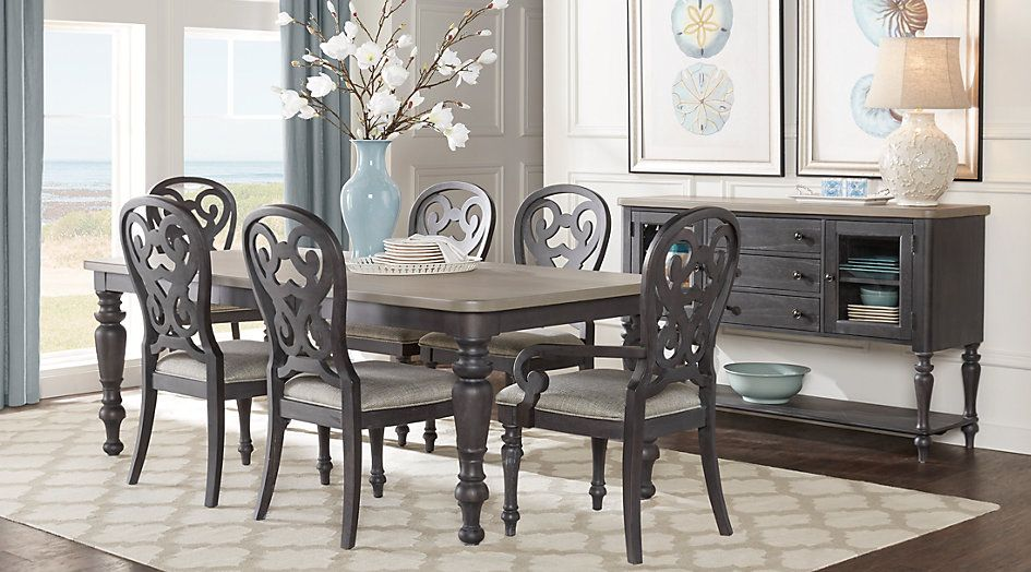 Picture Of Cindy Crawford Home Coastal Breeze Charcoal 5 Pc Unique Coastal Dining Room Sets Decorating Inspiration