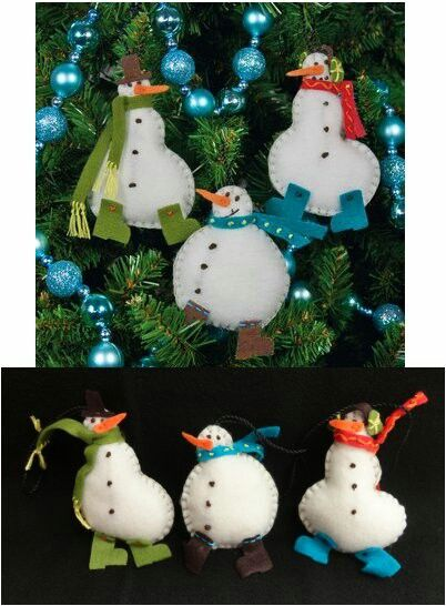 Simple Snowmen Ornaments DIMENSIONS Needlecrafts Felt Applique