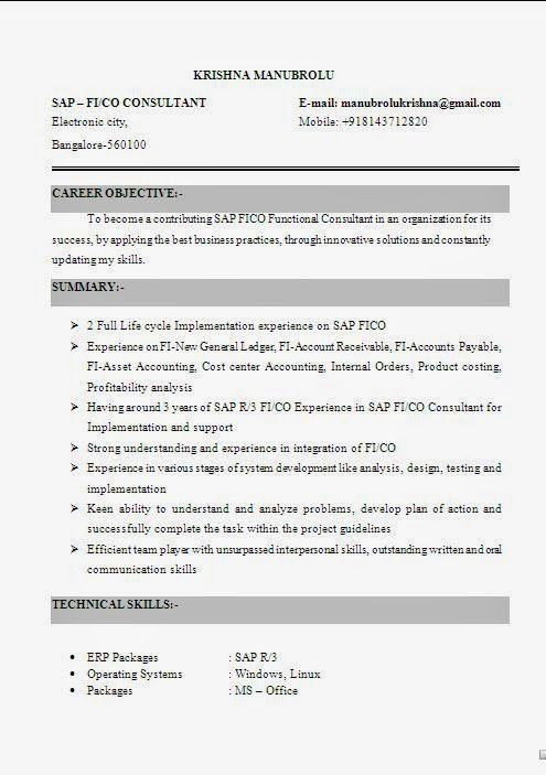 cover resume Sample Template Example of Excellent Curriculum Vitae - sap fico resume sample