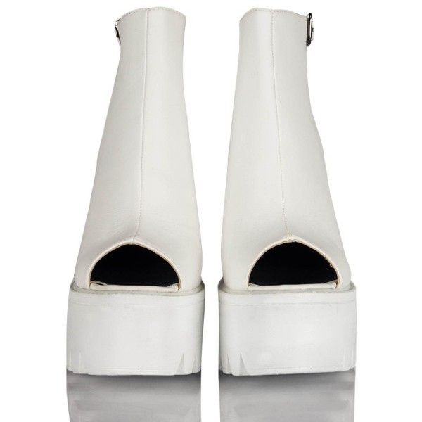 ca04684ce44 Mollie Ankle Strap Peep Toe Chunky Platform Boots In White PU (4.100 RUB) ❤