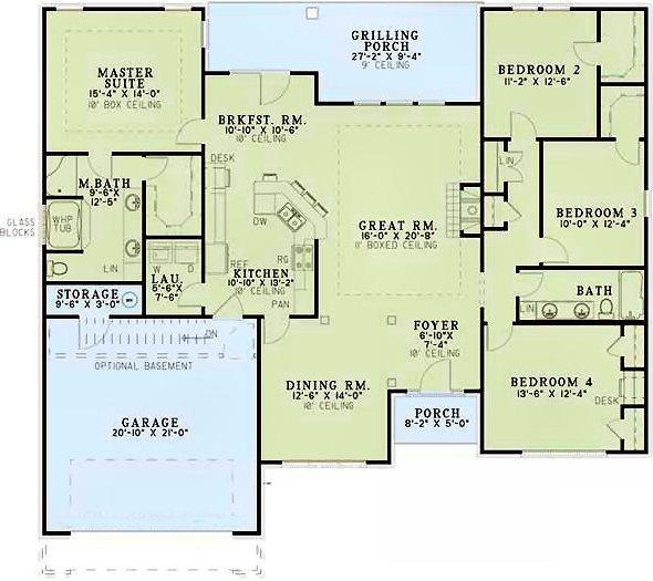 4 Bedroom 2 Bath Bungalow House Plan ALP 07EZ
