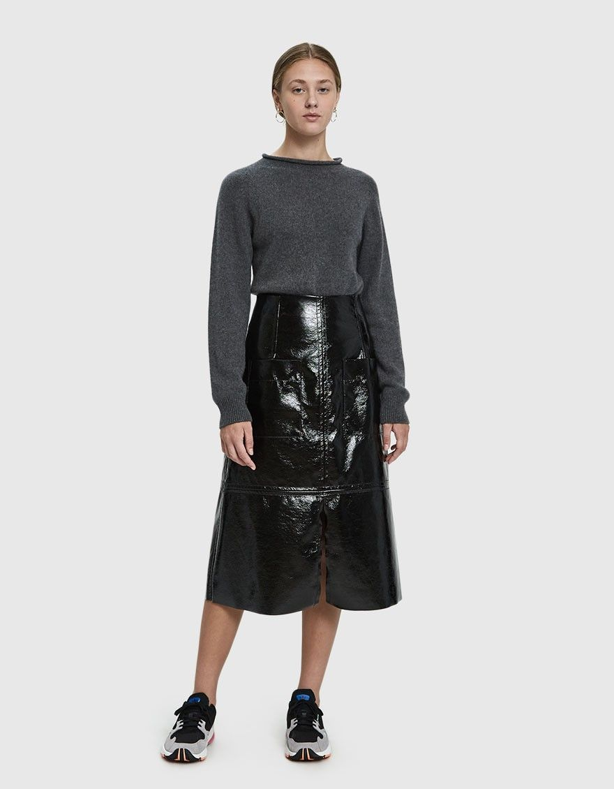 4d89ff5435 Mijeong Park / Faux Patent Leather Skirt in Black in 2018 | Clothing ...