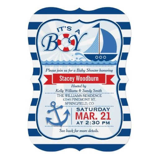 Nautical, Sailboat Theme Boy Baby Shower Invitation On Navy Blue And