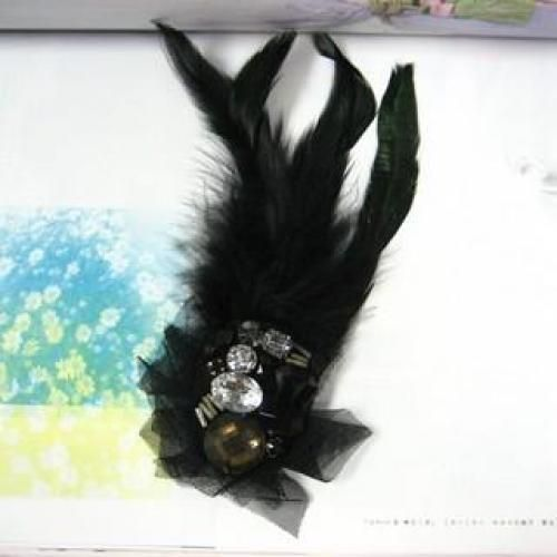 Feather with Lace-Trim Badge Brooch Black - One Size