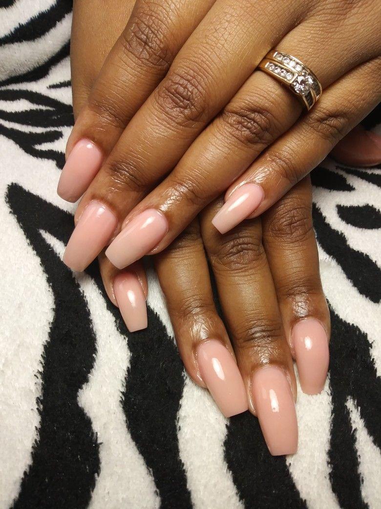 Simple Acrylic Nail No Polish Opaque Pink Acrylic Simple Acrylic Nails Nails Pink Acrylics