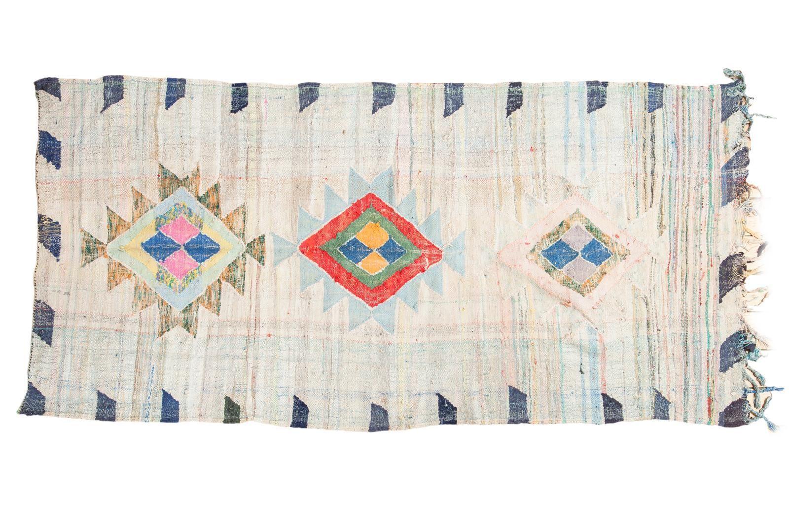 "Vintage Moroccan Rag Rug - 4'1"" X 8'6"" on Chairish.com"