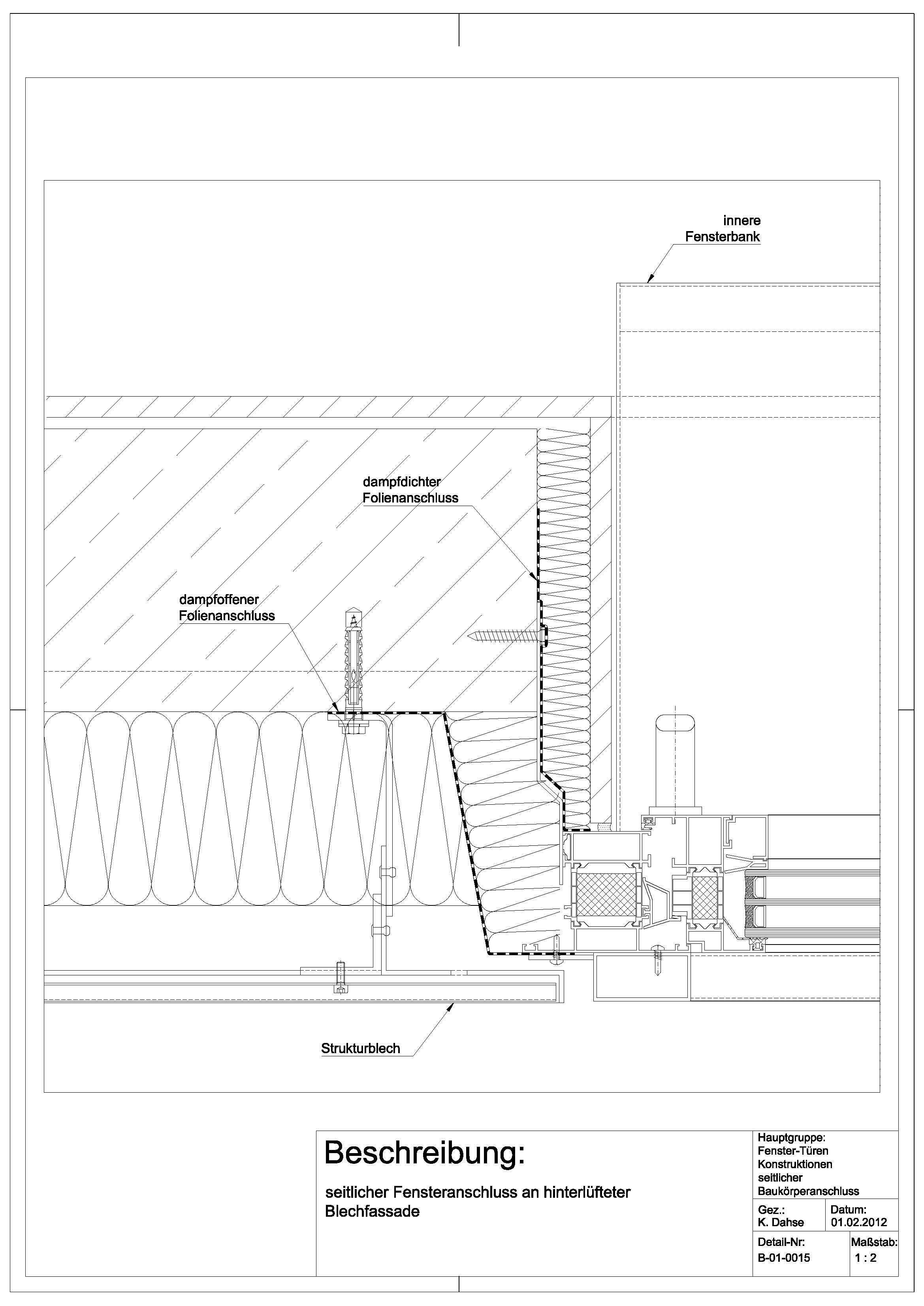 B010015 Fensteranschluss an hinterlüfteter Blechfassade