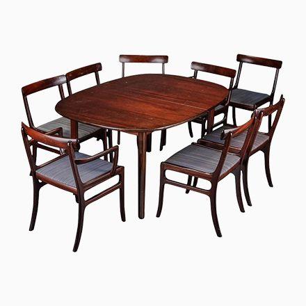 Rungstedlund Esstisch mit Acht Stühlen von Ole Wanscher für Poul - küchentische und stühle