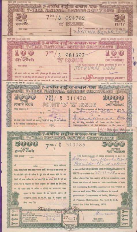 India 7 Year National Savings Certificate 4 Diff Rupees 5000 1000 ...